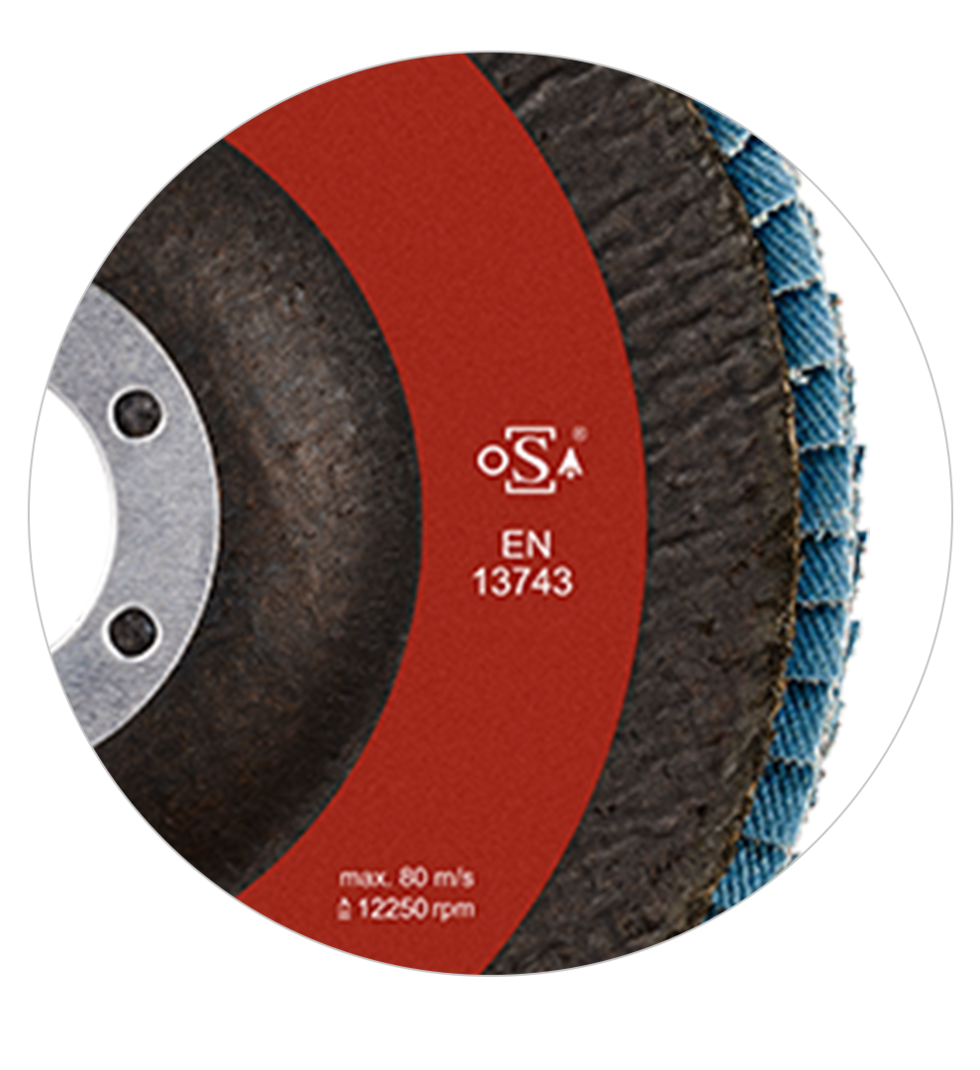 Detail of RHODIUS private label grinding disc with certification mark
