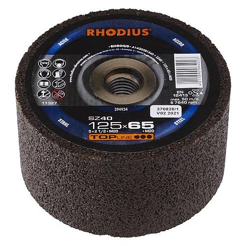 RHODIUS SZ40 − Schleiftopf für den Gleisoberbau und mit hitzebeständiger Bindung besonders für den Heißschliff geeignet