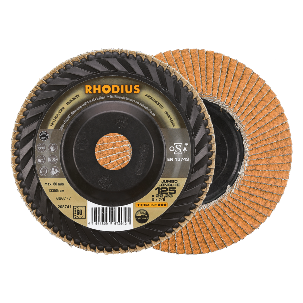 RHODIUS JUMBO LONGLIFE TRIM -  Flap disc with trimmable backing