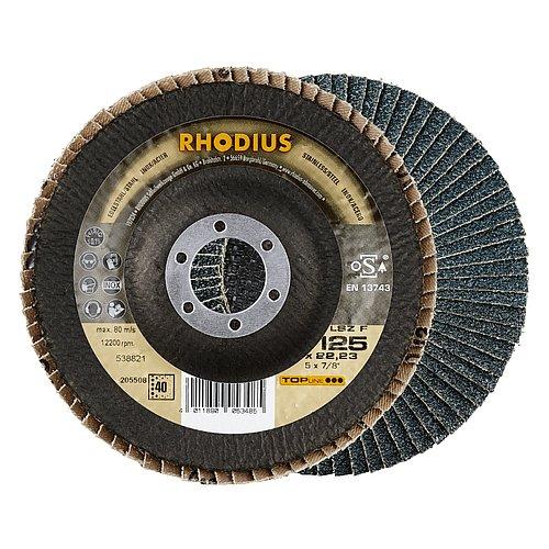 RHODIUS LSZ F − leistungsstarke Fächerschleifscheibe für Stahl und für Edelstahl