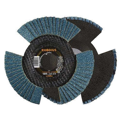 RHODIUS VISION PRO − durchsichtige Fächerschleifscheibe für die Bearbeitung von Stahl
