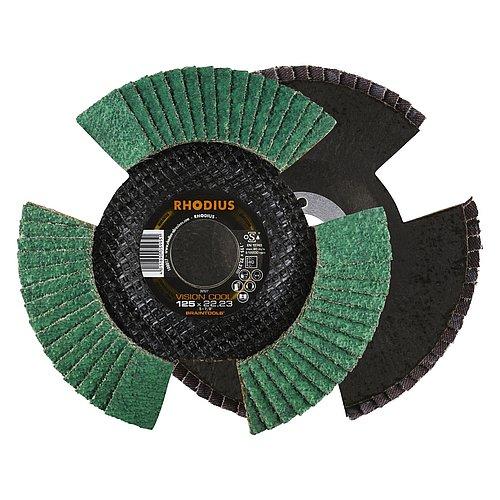 Aluminium schleifen mit der RHODIUS VISION COOL − Fächerschleifscheibe mit kühlem Schliff für weniger Anlauffarben