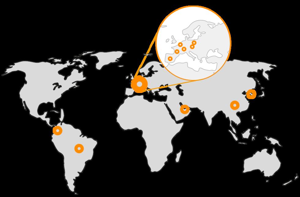 Weltkarte mit Standort-Pins