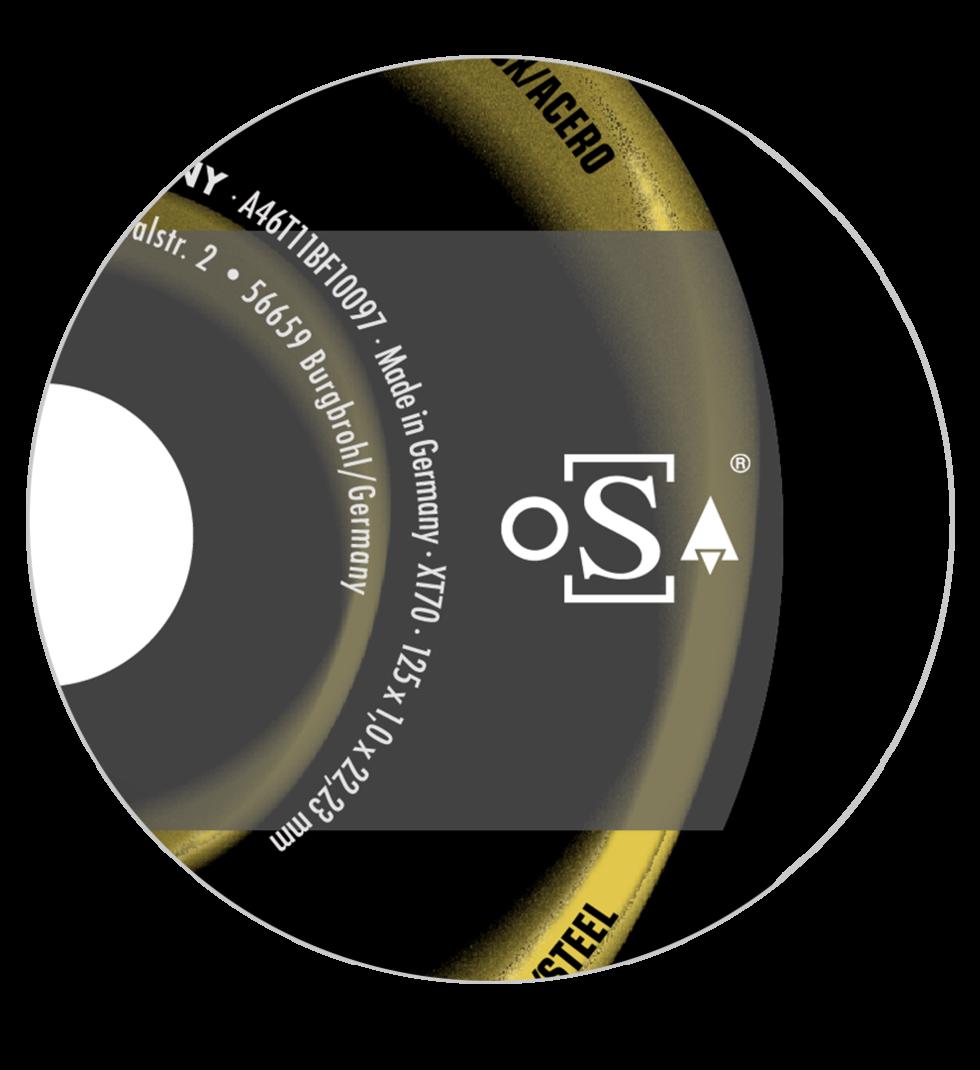 Schleifscheibe mit oSa Logo
