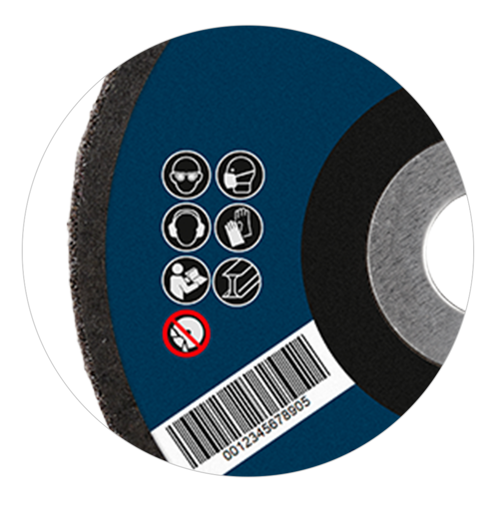 Label details on a grinding disc for private labels
