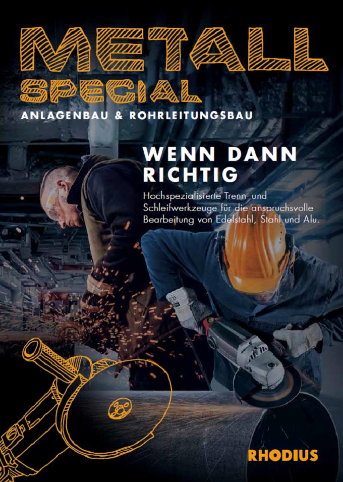 Deckblatt Branchenflyer - Schleifwerkzeuge für den Anlagenbau