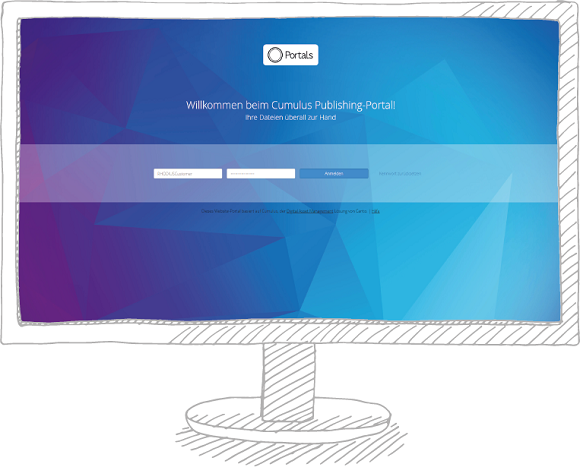 Skizze Monitor mit Screen Canto Login